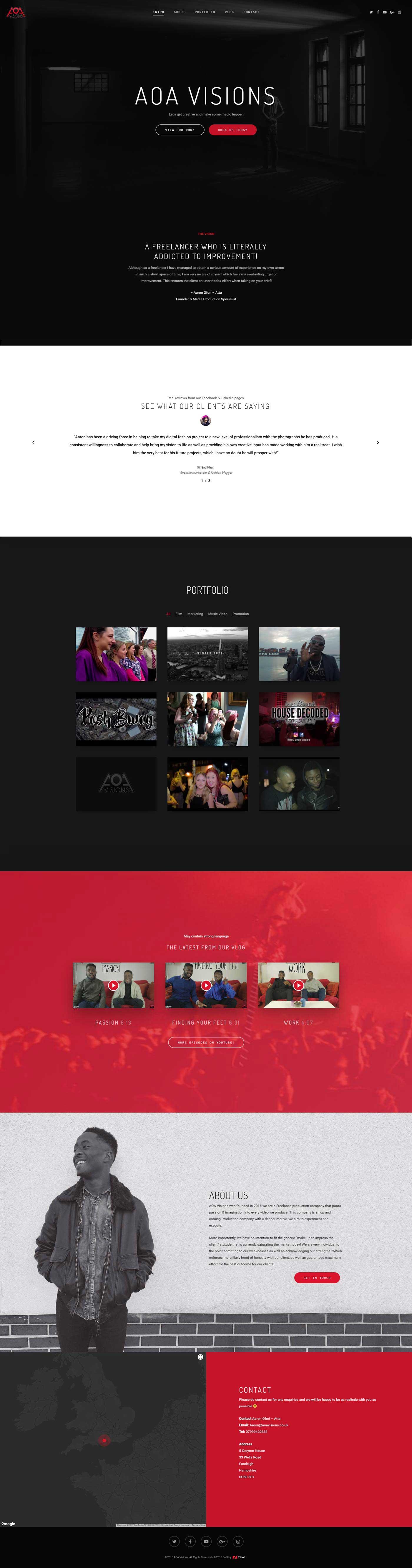 media production company website design